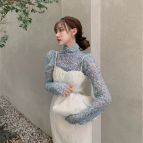 Dress Spring 2021 Blue T-shirt + white suspender skirt S M L XL longuette singleton  Long sleeves commute Crew neck High waist Broken flowers Socket A-line skirt routine camisole 18-24 years old Type A Zhixiao Korean version printing D3N6340 More than 95% other other Other 100%