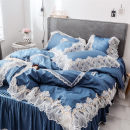 Bedding Set / four piece set / multi piece set cotton other Solid color 133x72 Other / other cotton 4 pieces 40 Bed skirt Qualified products Korean style 100% cotton twill Reactive Print