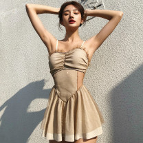 one piece  cicory M,L,XL Camel Skirt one piece With chest pad without steel support Nylon, spandex, others female Sleeveless Casual swimsuit Solid color Diamond inlay