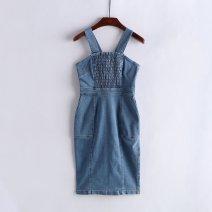 Dress Spring 2021 White, light blue, denim blue 155,160 longuette Sleeveless Socket SWFO181063