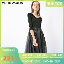 Dress Spring of 2019 S59 black 155/76A/XS 160/80A/S 165/84A/M 170/88A/L 175/92A/XL 180/96A/XXL Mid length dress singleton  three quarter sleeve commute V-neck High waist Solid color zipper A-line skirt routine 25-29 years old Vero Moda Simplicity 31917C502 31% (inclusive) - 50% (inclusive) nylon
