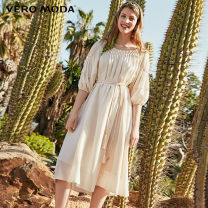 Dress Summer of 2019 155/76A/XS 160/80A/S 165/84A/M 170/88A/L 175/92A/XL 180/96A/XXL Mid length dress singleton  elbow sleeve Sweet Crew neck High waist Solid color Socket other puff sleeve Others 25-29 years old Vero Moda 51% (inclusive) - 70% (inclusive) polyester fiber Ruili