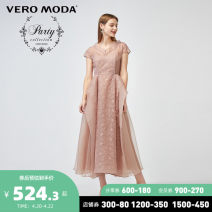 Dress Spring 2020 Mottled C15 Pink 155/76A/XS 160/80A/S 165/84A/M 170/88A/L 175/92A/XL Mid length dress singleton  Short sleeve Sweet V-neck High waist Solid color Socket Princess Dress Wrap sleeves 25-29 years old Vero Moda Lace 32017A508-472713 More than 95% Lace polyester fiber Polyester 100%