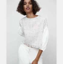 shirt white XS,S,M,L Spring 2021 cotton 96% and above three quarter sleeve Short style (40cm < length ≤ 50cm) Crew neck puff sleeve Straight cylinder