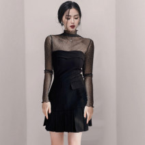 Dress Spring 2021 black S,M,L,XL Short skirt Two piece set Long sleeves commute High collar High waist Solid color zipper A-line skirt routine Others 18-24 years old Type X BLINGOR Retro 31% (inclusive) - 50% (inclusive) brocade cotton