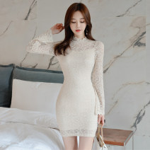 Dress Spring 2021 Apricot S,M,L,XL Short skirt singleton  Long sleeves commute stand collar High waist Solid color zipper One pace skirt routine 18-24 years old Type H Korean version Lace 31% (inclusive) - 50% (inclusive) Lace polyester fiber