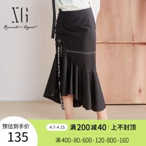 skirt Spring 2020 34/155/S 36/160/M 38/165/L 40/170/XL black Mid length dress commute Natural waist Ruffle Skirt Solid color Type H 30-34 years old XE103012A29019 71% (inclusive) - 80% (inclusive) XG / snow song cotton Ruffle button print lady