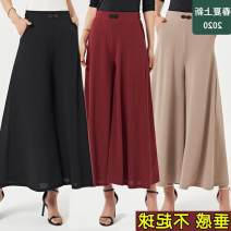 Casual pants Summer 2020 Ninth pants Wide leg pants High waist commute Thin money 40-49 years old 31% (inclusive) - 50% (inclusive) Tuzi Korean version pocket Other 100%