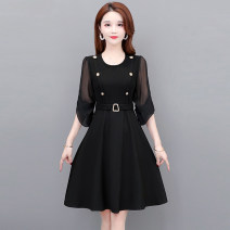Women's large Spring 2021 black M L XL XXL XXXL XXXXL Dress singleton  commute Self cultivation thin Socket Long sleeves Solid color Korean version Crew neck polyester Three dimensional cutting routine Tiyunna 35-39 years old 96% and above Medium length Polyester 100% Pure e-commerce (online only)