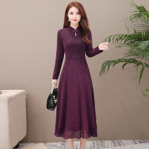 Women's large Spring 2021, summer 2021 Purple, black, 8567 red, 8567 green Big size xxxxx L, big size L, big size XL, big size XXL, big size XXXXL, big size XXXXL Dress singleton  commute Self cultivation moderate Socket Long sleeves Solid color Korean version Crew neck Medium length polyester Gauze