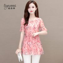 Lace / Chiffon Summer 2020 Pink Blue Green L XL 2XL 3XL 4XL 5XL Short sleeve commute Socket singleton  easy Regular Crew neck Decor Lotus leaf sleeve 40-49 years old Tiyunna TYN195635 printing Korean version 96% and above Polyester 100% Pure e-commerce (online only)