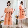 Dress Gan Xi Light orange pink blue M L XL XXL Korean version Short sleeve Medium length summer Crew neck other