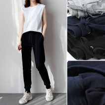 Casual pants 5618 black waist drawstring pants, 5618 gray waist drawstring pants, 5618 Baolan waist drawstring pants S,M,L,XL Spring 2021 trousers Natural waist Versatile routine 81% (inclusive) - 90% (inclusive) Good products for bathing cotton cotton