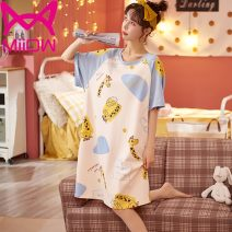 Nightdress Miow / cat man HMG32001 , HMG32002 , HMG32003 , HMG32004 , HMG32005 , HMG32006 , HMG32007 , HMG32008 , HMG32009 , HMG32010 M【80 - [100kg] , L【100 - [120 kg] , XL【120 - 140 kg] , XXL【140 - 155kg] , XXXL【155 - 175 kg] Cartoon Short sleeve pajamas Middle-skirt summer Cartoon animation youth