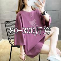 Women's large Summer 2021 Black, taro purple M (recommended 80-115 kg), l (recommended 115-125 kg), XL (recommended 125-145 kg), 2XL (recommended 145-165 kg), 3XL (recommended 165-210 kg), 4XL (recommended 210-300 kg) T-shirt singleton  commute easy moderate Socket Short sleeve shape Korean version