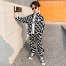 suit Colorful banner Black and white 100cm 110cm 120cm 130cm 140cm 150cm 160cm male spring and autumn Korean version Long sleeve + pants 2 pieces routine There are models in the real shooting Zipper shirt nothing letter other children Expression of love Class B Other 100% Spring 2021 Chinese Mainland
