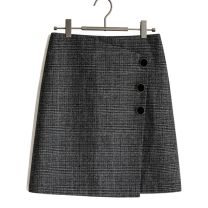 skirt Autumn of 2019 S suits pants 26, m suits pants 27, l suits pants 28, XL suits pants 29 / 30, 2XL suits pants 31 / 32 grey Short skirt commute High waist A-line skirt lattice Type A 25-29 years old More than 95% other other Button, zipper, stitching, irregular Korean version
