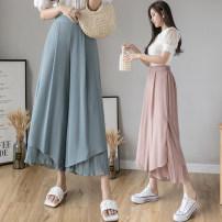 Casual pants Pink Blue Black S M L XL Summer 2020 Ninth pants Wide leg pants High waist commute Thin money 18-24 years old Y-977 Yasuen Korean version Other 100% Pure e-commerce (online only)