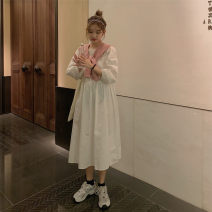 Dress Autumn 2020 S,M,L,XL Mid length dress Two piece set Long sleeves commute Crew neck Solid color Socket other puff sleeve Others Type A Other / other Korean version 31% (inclusive) - 50% (inclusive) Chiffon