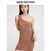 Dress Spring 2021 Coffee 020 XXS XS S M Short skirt Sleeveless street Slant collar other Others 18-24 years old Urban outfitters UO-60325370-000 More than 95% polyester fiber Polyester 95% polyurethane elastic fiber (spandex) 5% Europe and America