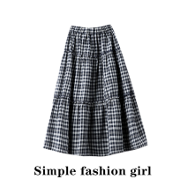 skirt Spring 2021 S,M,L Picture color Mid length dress Sweet Cake skirt lattice Type A cotton Fold, Auricularia auricula, stitching solar system