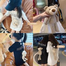Parent child fashion White, black, black about 5.28 hair, white about 5.28 hair Women's dress female Other / other Mom's average size: 80cm tag 80, 90cm tag 90100cm tag 100110cm tag 110120cm tag 120130cm tag 130140cm tag 140 E55185 summer Korean version Thin money Solid color cotton Average size