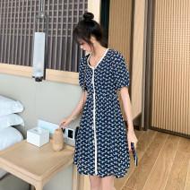 Dress TUN SPICY blue M,L,XL,XXL leisure time Short sleeve Medium length summer Dot Chiffon yf.27