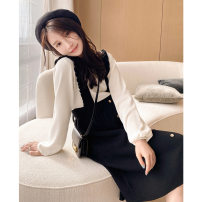Dress Other / other black and white M,L,XL,XXL Korean version Long sleeves Medium length winter Crew neck Solid color viscose