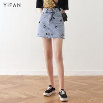 skirt Summer 2020 XS S M L XL 2XL blue Short skirt commute High waist A-line skirt Cartoon animation Type A 18-24 years old More than 95% Denim cotton Embroidery Korean version Cotton 100% Pure e-commerce (online only)
