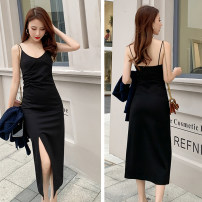 Dress Spring 2021 black XS S M L XL 2XL 3XL 4XL Mid length dress singleton  Sleeveless commute V-neck High waist Solid color Socket A-line skirt other camisole 18-24 years old Type A zimrilim Korean version backless L03-19-01 More than 95% other other Other 100% Pure e-commerce (online only)