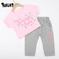 suit TUELNT 3032 white + Black 3032 pink + grey 110cm 120cm 130cm 140cm 150cm 160cm female summer leisure time Short sleeve + pants 2 pieces routine There are models in the real shooting Socket nothing Cartoon animation cotton Shopping Class B Cotton 95% polyurethane elastic fiber (spandex) 5%