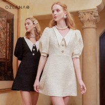 Dress Summer 2021 Black Beige S M L Middle-skirt singleton  elbow sleeve commute Polo collar High waist zipper Princess Dress other Others 25-29 years old Ozlana AU211031 More than 95% polyester fiber Polyester 100% Same model in shopping mall (sold online and offline)