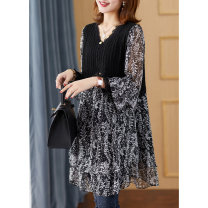 Dress Spring 2021 black M L XL 2XL Mid length dress Fake two pieces Long sleeves commute V-neck Loose waist Broken flowers Socket A-line skirt Lotus leaf sleeve 30-34 years old Type A Epile / yipinle Korean version Lace with ruffles A2706 More than 95% Chiffon polyester fiber Polyester 100%