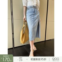 skirt Summer 2021 S M L Blue 7 days Mid length dress High waist Type A Q2104101 More than 95% Qian Gu Gu cotton Cotton 100%