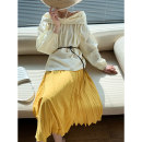 skirt Spring 2021 S M Black white yellow blue black 5-7 days white 5-7 days yellow 5-7 days blue 5-7 days Mid length dress Versatile High waist Pleated skirt Solid color 25-29 years old Q2103081 More than 95% Qian Gu Gu polyester fiber Polyester 100%
