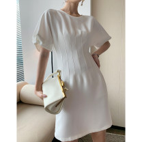 Dress Summer 2020 Black white blue S M longuette singleton  Long sleeves commute Crew neck middle-waisted Solid color zipper One pace skirt puff sleeve 25-29 years old Type X Qian Gu Gu zipper Q205191 More than 95% other Other 100%