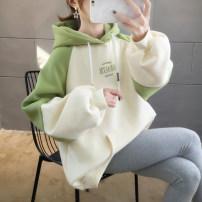 Women's large Winter of 2019 Green Plush Pink Plush Yellow Plush orange Plush green thin pink thin yellow thin orange thin M (suitable for 80-110 kg) l (suitable for 110-140 kg) XL (suitable for 141-170 kg) XXL (suitable for 171-200 kg) Sweater / sweater singleton  commute easy thickening Socket Hood