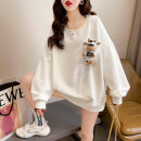Women's large Spring 2021 White, black, red M L XL Sweater / sweater singleton  commute easy thin Socket Long sleeves Animal design letters Korean version Crew neck routine cotton routine hl2995 Iluoyu 25-29 years old Three dimensional decoration Polyester 75% cotton 25% Pure e-commerce (online only)