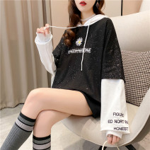 Women's large Autumn 2020 M (suitable for 80-110 kg) l (suitable for 111-140 kg) XL (suitable for 141-170 kg) XXL (suitable for 171-200 kg) Sweater / sweater Fake two pieces commute easy Socket Long sleeves Letters for plants and flowers Korean version Hood routine cotton routine Iluoyu Embroidery