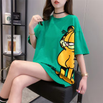 Women's large Summer 2020 M (suitable for 80-110 kg) l (suitable for 111-140 kg) XL (suitable for 141-170 kg) T-shirt singleton  commute easy Socket Cartoon animation Korean version Crew neck Medium length polyester fiber routine Iluoyu 25-29 years old