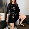 Women's large Spring 2021 Black and white M L XL XXL T-shirt singleton  commute easy thin Socket Short sleeve Bow abstract pattern Korean version Crew neck Medium length cotton routine hl3015 Iluoyu 25-29 years old Three dimensional decoration Pure e-commerce (online only) bow