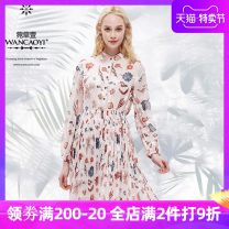 Dress Spring of 2019 Off white S M L Middle-skirt singleton  Long sleeves commute Elastic waist Single breasted Pleated skirt shirt sleeve 25-29 years old Aster one Korean version Q10311917 More than 95% polyester fiber Polyester 100%