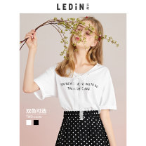 T-shirt White black 155/S 160/M 165/L Summer of 2019 elbow sleeve V-neck easy Regular Sweet cotton 96% and above 18-24 years old Leting Cotton 100% Same model in shopping mall (sold online and offline) solar system