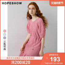 Dress Summer 2020 S M L XL Mid length dress Two piece set Short sleeve commute Crew neck Solid color Socket Princess Dress other Others 25-29 years old Type X Hopeshow  lady fold More than 95% polyester fiber Polyester 96.9% polyurethane elastic fiber (spandex) 3.1%