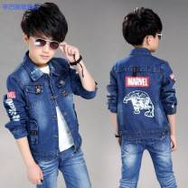 Plain coat Simba monkey male spring and autumn Korean version Single breasted There are models in the real shooting routine nothing Cartoon animation Cotton elastic denim square neck Cotton 90% polyester 10% Class B