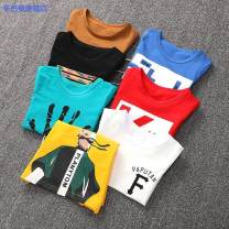 T-shirt Black white red yellow Khaki blue green Simba monkey 100cm 110cm 120cm 130cm 140cm 150cm 160cm male summer Short sleeve Crew neck leisure time There are models in the real shooting nothing cotton Cartoon animation Cotton 95% other 5% Short sleeve t-shirt-718085d2-2 Class B Quick drying