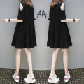 Women's large Summer 2021 Black yellow L XL 2XL 3XL 4XL 5XL Dress singleton  commute easy thin Socket Short sleeve Solid color Korean version Crew neck Medium length Three dimensional cutting Beautiful special zone 25-29 years old Medium length Other 100% Pure e-commerce (online only)