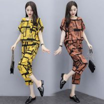 Women's large Summer 2021 Yellow light brown M L XL 2XL 3XL Other oversize styles Two piece set commute easy thin Socket Short sleeve Korean version Three dimensional cutting Beautiful special zone 25-29 years old Three dimensional decoration Other 100% Pure e-commerce (online only) Cropped Trousers