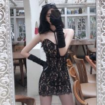 Dress Summer 2020 White, black S,M,L Short skirt singleton  street middle-waisted Socket Pencil skirt Hanging neck style 18-24 years old Type A Other / other Lace 51% (inclusive) - 70% (inclusive) Europe and America