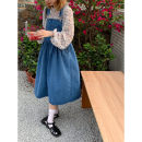 Dress Summer 2021 Chiffon shirt with strap skirt Average size Mid length dress singleton  Sleeveless commute One word collar High waist Solid color Socket Princess Dress other straps 18-24 years old Type H Legola Korean version pocket 71% (inclusive) - 80% (inclusive) Denim cotton